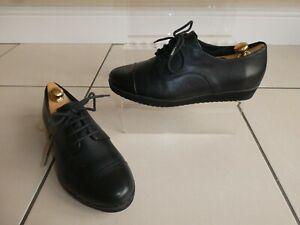 *CLARKS* Ladies Black Leather SHARON LACE UP SHOES uk3 eur36 EC rrp£59