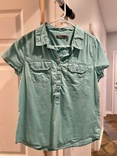 PRANA Women's Cotton Half Button Short Sleeve Shirt Teal Size Medium