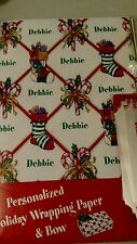 Personalized gift wrap wrapping Christmas xmas NIP Debbie stockings candy canes