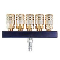 Primefit 1/4 inch 5 Way Line Manifold Brass Couplers Air Compressor Tool Part