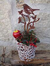 Edelrost Topfstecker Vogel Hagebutte Garten Terrasse Pflanztopf Figur Beet Figur