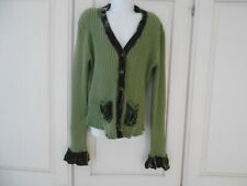 Jigsaw Green Cotton Ribbed Cardigan With Velvet Edges/Pockets - 12-13 yrs