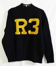 Vintage RRL Ralph Lauren Collegiate R3 Black Mock Neck Wool Knit Sweater Medium