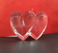 Valentine Crystal Paperweight Double Heart Clear Art Glass 4 x 2.75 x 1.75