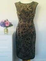 JAEGER Dress Size UK 12 BROWN BLACK 100% SILK FLORAL Print SMART OCCASION PARTY