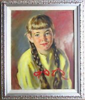 H D Becker American Impressionist Original Oil Painting Girl Portrait Signed