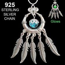 Dream Catcher 952 Sterling SIlver Chain Glow in the Dark Pendant Necklace JBK
