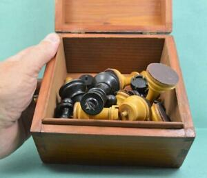 Antique Staunton Style Weighted chess set Boxed [ with lost items [ as found