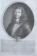 Gravure Originale XVIIème - Portrait de Henri de La Tour d'Auvergne, dit Turenne