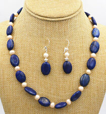 lapis lazuli Silver necklace Earrings new Beautiful Freshwater White pearl blue