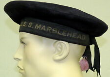 Antique USS Marblehead Navy Tally Cap Hat Spanish American War Wool Silk Blue