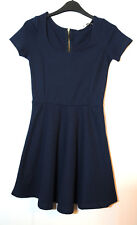 NAVY BLUE LADIES CASUAL PARTY SKATER DRESS SIZE S STRETCH STRADIVARIUS