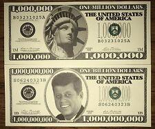 Fun Novelty Item. (Lot of 2) Kennedy Liberty Million Billion Dollar Bill Novelty