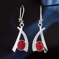 Koralle Silber 925 Ohrringe Damen Schmuck Sterlingsilber H0312