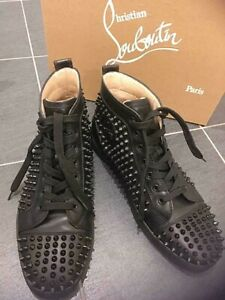 Christian Louboutin Louis Flat Spikes Sneakers Size 43 US10 Black Shoes