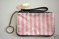 Victoria's Secret White Pink stripes Mini Cosmetic Makeup Bag CLUCH  WALLET NEW