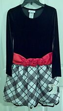 NWT Bonnie Jean Girls Sz 12 Dress, Black Velvet, Black/White Sparkle Plaid