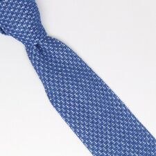 Gladson Mens Cotton Necktie Blue White Pindot Textured Knit Square End Tie Italy