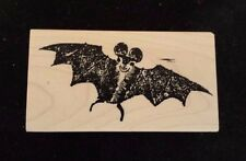 FLYING BAT 100 Proof Press Rubber Stamp HALLOWEEN Scary Creepy