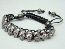 Men's  Macrame beaded bracelet gun metal hematite Crystal Skull beads