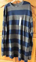 NEW MENS ST JOHNS BAY BLUE  STRIPED LONG SLEEVE THERMAL SHIRT XLT