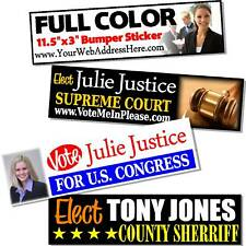 200 Custom Printed Election Campaign Bumper Stickers
