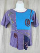 Womens Medium Color Block Tshirt Purple Aqua Embellished Sol & Mane 100% Cotton