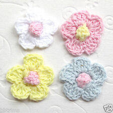 """US SELLER- 60 x 1"""" Mix Hand Crochet Cotton Spring Flower Appliques for Bow ST02C"""