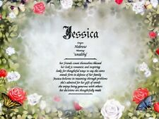 """""""Roses"""" Name Meaning Print Personalized (Floral, Romantic)"""
