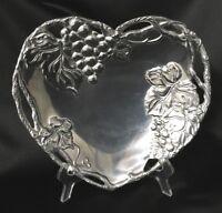Arthur Court Grape Heart Shaped Aluminum Bowl 2002