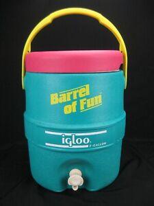Vtg 1990 Igloo Barrel of Fun 2-Gallon Drink Cooler Teal, Pink & Yellow w/ Tray