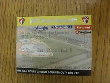 Billete De 19/07/2003: Bournemouth V Portsmouth [testimonios] (Plegado Steve Fletcher