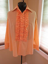 Mens Vintage Ruffled Tuxedo Shirt Orange 15 X 32 (M2) #84