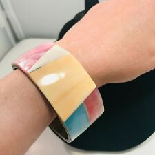 Mop Dyed Shell Inlay Bangle Bracelet Vintage Wide Gold Tone Mother Of Pearl