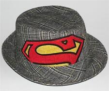 SUPERMAN Man of Steel DC Comics Superhero SHIELD LOGO Wool Bucket FEDORA HAT  M 0ae681686918