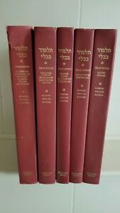 5 Volume Set of the Hebrew - English Editions of The Babylonian Talmud