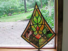Antique STAINED GLASS WINDOW PANEL   17  X 23