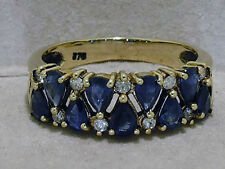 R251-GENUINE 9ct Solid GOLD Natural SAPPHIRE & Diamond Eternity Ring size Q