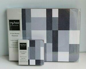 6 Coastal Placemats & 6 Coasters Set Shades Grey & Blue Design