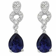Exquisite Blue & White Sapphire Dangle Earrings in Solid Sterling Silver