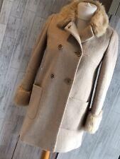 Miss Selfridge Cream Wool Blend Coat, Faux Fur Collar & Cuffs, Pockets Uk8 VGC