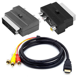 1080p HDMI Male S-video to 3 RCA AV Audio Cable W/SCART To 3 RCA Phono Adapter