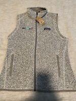 New Patagonia Womens Small Better Sweater Vest.  Birch White (Grey). W/logo