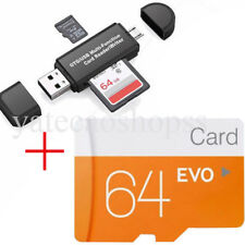 64gb Class 10 Ultra Micro SD TF Flash Memory Card Adapter 2 in 1 Card Reader