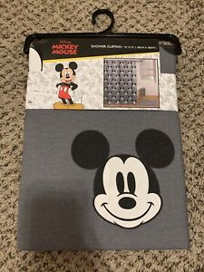 Disney Mickey Mouse Shower Curtain 72 x 72 in Black White And Gray HTF NWT