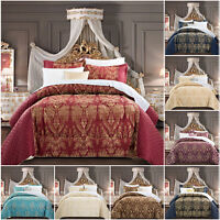 Luxury 3 PCS Jacquard Quilted Bedspread Throw Comforter Bedding Set Double King