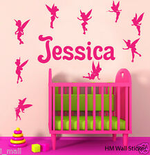 Personalised name & 9 Tinkerbell Fairies Kid / Nursery Removable Wall sticker