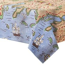 """Pirate party Treasure map Plastic tablecover, measures 108"""" x 54"""""""