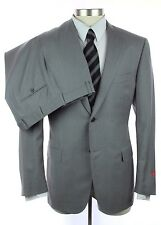 New ISAIA Grey Stripe Super 120's 2Btn Flat Front Suit 52 42 42R NWT $3695!