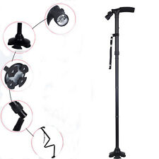 Adjustable Handle Folding Cane With LED Lights Black Walking Stick Pivot Base